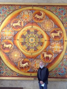 Dr. Jack admires the artwork in Dubai.