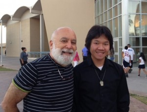 Anh Truong with Dr. Jack Dillenberg at Alhambra High School's spring band concert.
