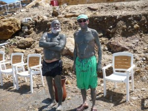 Dr. Jack Dillenberg and Saba Kalamchi take a break and swim in the Dead Sea.