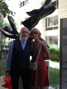Dr. Jack Dillenberg and Jamalee Moret pose by the newly dedicated Tree of Peace at the Al-Quds Dental School.