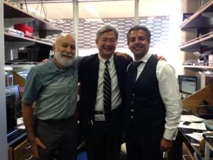 Dr. Jack Dillenberg and Dr Tony Hashemian visit Dr. David Wong at UCLA's Salivary Diagnostics Lab.