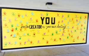 A colorful sign reminds students at students at the Lemon Grove Academy for the Sciences and the Humanities that they are in charge of their own future.