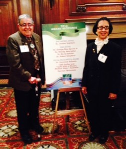 Dr. George Bluespruces and Dr. Jeanne Sinkford are reward recipients at the recent Shills Board Gala.