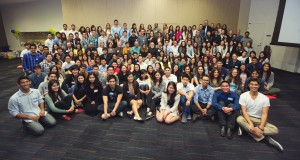 A large group poses at the UCSD Predental Club's kick-off speech presented by Dr. Jack Dillenberg.