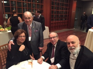 During his time in Boston at the Tel Aviv University celebration, Dr. Jack Dillenberg joins Dr. Ben Williamowsky along with Dean Bruce and Maddie Donoff at event reception.