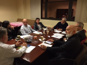 Dr. Jack Dillenberg meets with Americans and Israelis to discuss a project training Israeli special needs individuals to work in the dental field.
