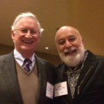 Dr. Jack Dillenberg enjoys  catching up with ATSU Board Member and former mentor, Dr. Chet Douglass, at the Board reception.