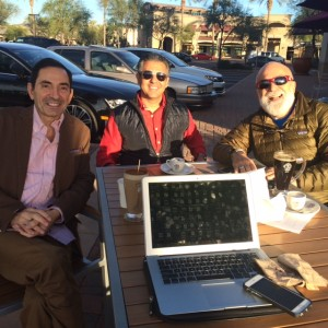 Drs. Sabah Kalamchi, Tony Hashemian and Jack Dillenberg informally meet while enjoying a cup of coffee.