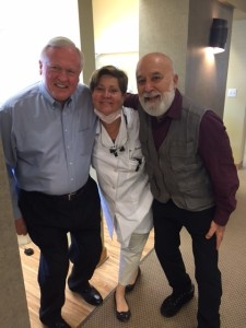 Dr. Jack Dillenberg and his friend Jerry Wissnick, President of the Legacy Foundation, meet while waiting to visit their dentist, Dr. Kathi Mansel, Dr. Jack's dentist.