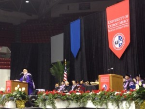 Dr. Jack Dillenberg delivers the 2015 Commencement for University of Detroit Mercy.