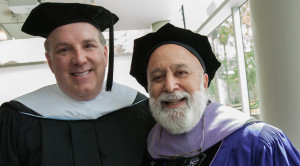 Dr. Jack Dillenberg joins Jeff Parker, the guest speaker for ASDOH's graduation.