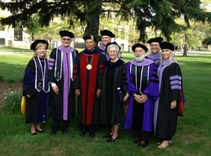 Leaders of University of Detroit Mercy School of Dentistry welcome Dr. Jack Dillenberg to the campus.