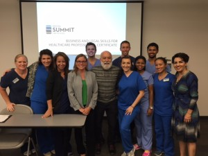 Dr. Jack Dillenberg joins the students and faculty at the first AZ Summit Law School class at ASDOH.