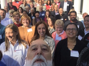 Dr. Jack, the well-gnome dean, takes a selfie with the IUSD faculty.
