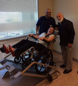 Sarah Ruf visits ASDOH's wheelchair lift in the Special Care clinic.