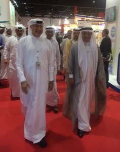 Al Madani and Dubai Health Minister greet participants at the opening ceremony of AEEDC meeting.