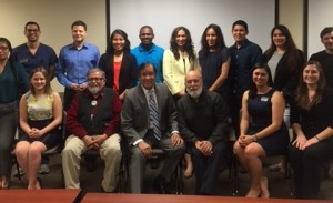 The American Indian predental students visit with Billy Mills, former Olympic gold medalist, Dr. Jack and Dr. George Bluespruce at ASDOH.