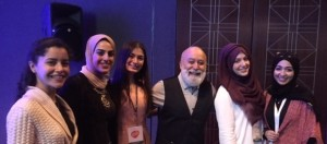 Dr. Jack meets with UAE dental students who attended his presentation.