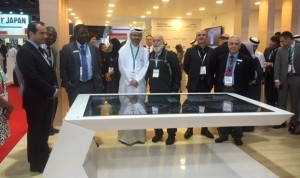Dubai Medical School dean and leaders of Dubai Health Care City welcome Dr. Jack to their exhibit.