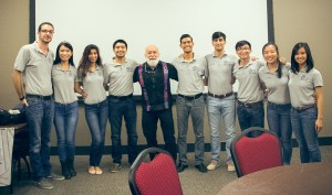 The officer's of the University of Houston pre-dental club welcome Dr. Jack Dillenberg back after his visit two years ago.