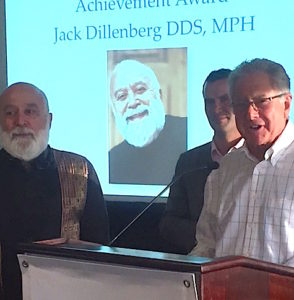 Dr. Steve Perlman presents the AADMD Lifetime Achievement Award to Dr. Jack for his work with the IDD population.